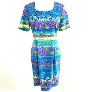Vintage Sag Harbor Floral Short Sleeve Midi Dress